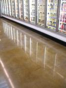 Polished concrete flooring with decorative stain